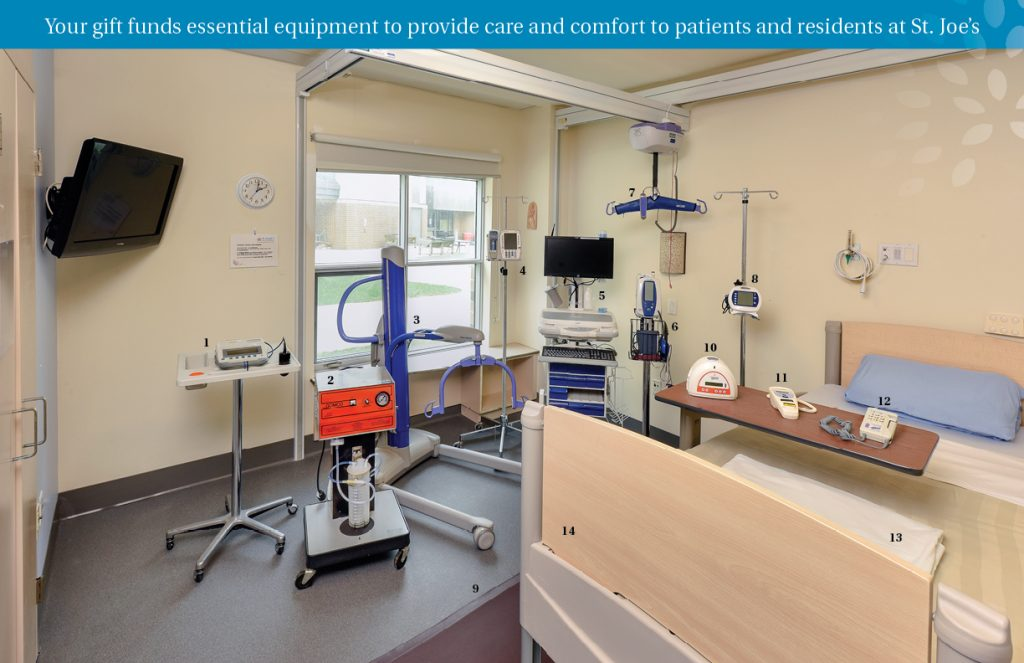 This image shows a room at St. Joseph's filled with medical equipment